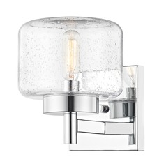 Industrial Seeded Glass Sconce Chrome