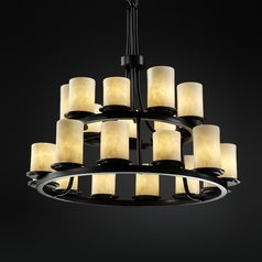 Justice Design Clouds 2-Tier 21-Light Chandelier in Matte Black