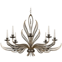 Fine Art Lamps Villandry Silver Antique Silver Leaf with Black Chandelier