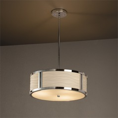 Justice Design Group Porcelina™ Polished Chrome Pendant Light with Drum Shade