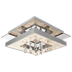 Elan Lighting Crushed Ice Chrome LED Flushmount Light
