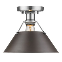 Golden Lighting Orwell Pw Pewter Flushmount Light