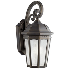 Kichler Outdoor Wall Light with White Glass in Rubbed Bronze Finish