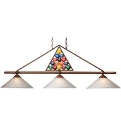 Modern Billiard Light with White Glass in Wood Patina Finish