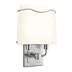 Modern Sconce Wall Light with White in Satin Nickel Finish