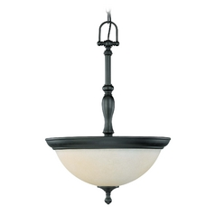 Pendant Light with Beige / Cream Glass in Aged Bronze Finish