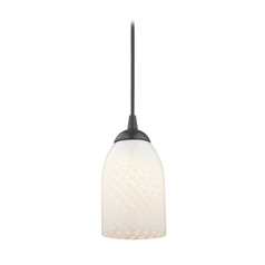 Contemporary Black Mini-Pendant Light with White Scalloped Art Glass
