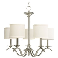 Progress Chandelier with Beige / Cream Shades in Brushed Nickel Finish