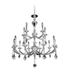 Allegri Floridia 2-Tier 15-Light Crystal Chandelier in Polished Chrome