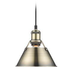 Golden Lighting Orwell Ab Aged Brass Mini-Pendant Light with Conical Shade