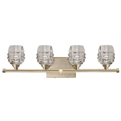 Modern Vintage Brass LED Bathroom Light with Clear Shade 3000K 1600LM
