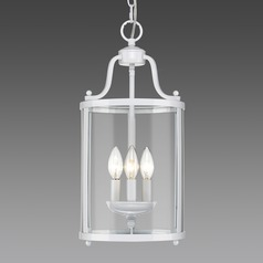 Payton 3 Light Pendant in White with Clear Glass