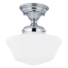 10-Inch Chrome Schoolhouse Semi-Flushmount Ceiling Light