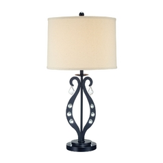 Lite Source Lighting Lyre Black Table Lamp with Drum Shade