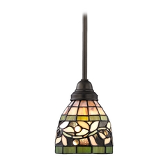 Design Classics Lighting Tiffany Mini-Pendant with Vine Design 1613 TB