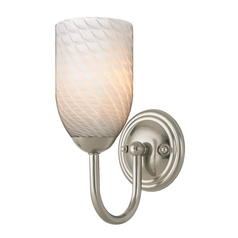 Sconce with White Art Glass in Satin Nickel Finish
