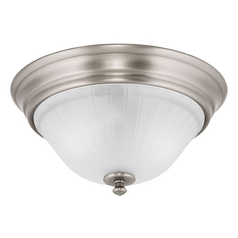 Flushmount Light with White Glass in Antique Nickel Finish