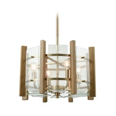 Elk Lighting Vindalia Satin Brass Pendant Light with Drum Shade