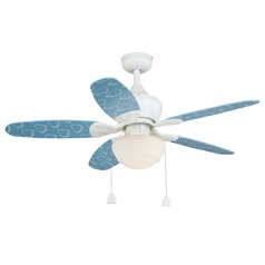 Ceiling Fan with Blue Blades and Clouds by Vaxcel Lighting