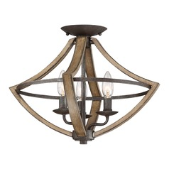 Lodge / Rustic / Cabin Flushmount Light Black Shire by Quoizel Lighting