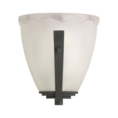 Sconce Wall Light with White Glass in Blacksmith Finish