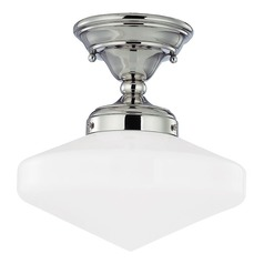Schoolhouse Ceiling Light Polished Nickel 10-Inch