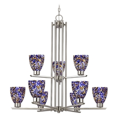 Modern Chandelier with Blue Glass in Satin Nickel Finish