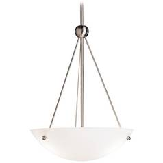 Kichler Lighting Kichler Modern Pendant Light with White Glass in Brushed Nickel Finish 2752NI