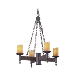 Chandelier with Beige / Cream Glass in Weathered Rust Finish