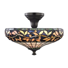 Design Classics Lighting Tiffany Semi-Flushmount Ceiling Light in Bronze Finish 1614 TB