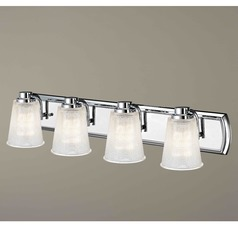 4-Light Bathroom Light with Clear Prismatic Glass in Chrome Finish