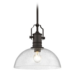 Seeded Glass Farmhouse Pendant Light Bronze 13-Inch Wide