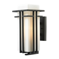 Outdoor Wall Light with White Glass in Textured Matte Black Finish
