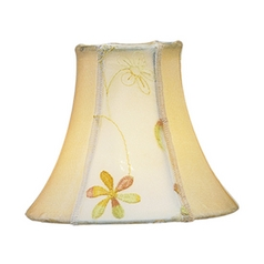 Embroidered Floral Bell Lamp Shade with Clip-On Assembly