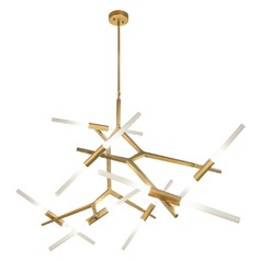 Modern 14-Light LED Chandelier in Brushed Brass