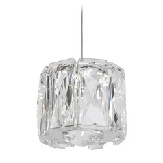 Crystal Chrome LED Mini-Pendant with Clear Shade 4000K 280LM