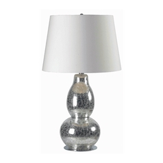 Modern Table Lamp with White Shade in Chrome Crackled Glass Finish