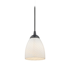Contemporary Mini-Pendant Light with White Scalloped Art Glass