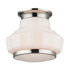 Art Deco Flushmount Light Polished Nickel Odessa by Hudson Valley Lighting