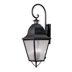 Seeded Glass Outdoor Wall Light Black Livex Lighting