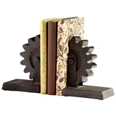 Cyan Design Gear Raw Steel Bookend