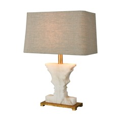 Dimond Cheviot Hills White Alabaster and Gold Leaf Table Lamp with Rectangle Shade