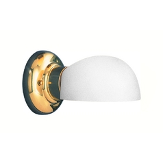 Bathroom Light with White Glass in Polished Brass Finish