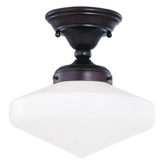 Design Classics 10-Inch Retro Style Schoolhouse Ceiling Light in Bronze Finish FAS-220 / GE10