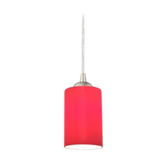 Design Classics Lighting Modern Mini-Pendant Light with Red Cylinder Glass 582-09 GL1008C