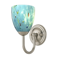 Sconce with Turquoise Art Glass in Satin Nickel Finish
