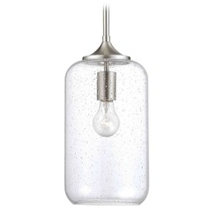 Seeded Glass Mini-Pendant Light Satin Nickel