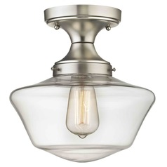 Clear Glass Schoolhouse Semi Flush Ceiling Light Satin Nickel 10-Inch