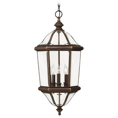 Outdoor Hanging Light with Clear Glass in Copper Bronze Finish