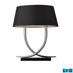 Dimond Lighting Chrome, Black LED Table Lamp with Oval Shade